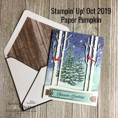October 2019 Winter Woods Paper Pumpkin Plus Alternative Shadow Box Pumpkin Cards, Paper Pumpkin, Christmas Trees, Christmas Cards, Bone Folder, Hand Stamped Cards, Red Ribbon, Thank You Gifts, Diy Craft Projects