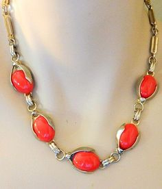 Vintage Celluloid Choker Necklace Orange Coral Color Retro Costume Jewelry #Choker