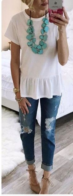 summer outfits  White Tee   Ripped Jeans