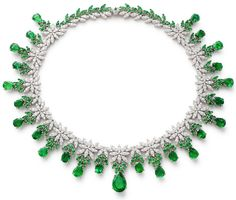 FineJewelry collection in 18K white gold set with OvalCut and PearCut- Emeralds (33.99 cts), 351 emeralds (9.03 cts) and 522 RoundCut - Diamonds (15.33 cts)
