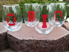 Buckeye Fever  20 oz Wine Glasses Set of 4 Visit Kiss My Glass on Facebook for more awesome creations