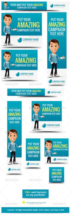 Business Cartoon Web Banner #GraphicRiver Business Cartoon – Banner Design Template Use this fun and cool business web banner Web Banner sizes These are the banner sizes that will give you high rate of conversion leaderboard (728×90) banner (468×60) button (125×125) small square (200×200) wide skyscraper (160×600) skyscraper (120×600) vertical banner (120×240) large rectangle (336×280) Ad Sizes for Mobile Ads square (250×250) medium rectangle (300×250) More Website Banner Templates Usage Web…