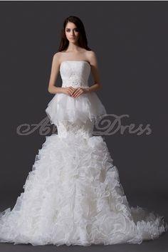 Luxury, Unique, Elegant Organza , Satin Wedding Dresses Ivory