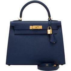 Pre-Owned Hermes Blue Sapphire Epsom Sellier Kelly 28cm Gold Hardware