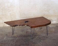 Redwood burl coffee table with hairpin legs