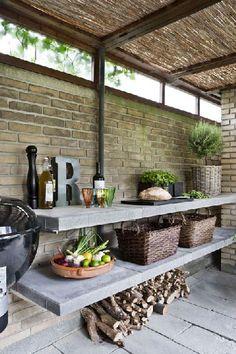 Aménagement cuisine d'exterieur sous abris de-jardin en briques
