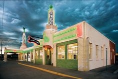 Built in 1936, Shamrock's Art Deco Tower Conoco Station and U-Drop Inn today houses the chamber of commerce, a visitors center, and an activity center. (Photo by J. Griffis Smith)