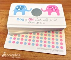 REDUCED PRICE Baby Elephant Gender Reveal Scratch Off Card.