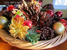 So why pay for scented pinecones, when you can make my own? For this project use: Pinecones Essential Oil- Cinnamon A spray bottle Cinnamon Sticks Basket Assorted Ornaments  - See more at: http://suzyssitcom.com/2011/11/feature-friday-scented-pinecones.html#sthash.WB8poaU5.dpufu