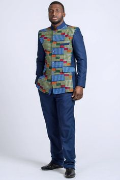 BLAZER+PANT African print blazer for men/ Kente suit vest/ Abacost suit for men/ 2 pieces African clothing/ gift for him/ Mao collar blazer - African Attire/Headwrap/Headdress/Jewelry - Robes Chic African Shirts For Men, African Clothing For Men, African Print Fashion, African Prints, African Tops, Ankara Fashion, African Fabric, African Women, African Attire