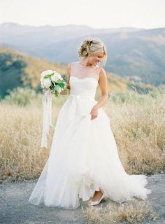 Custom Modest Wedding Dress White Tulle and Lace Vintage Bridal Wedding Dress. $236.00, via Etsy.