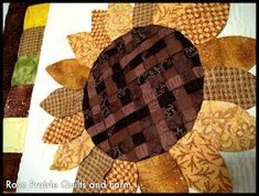 Yea it's done. It has been a few years since I started this quilt. It was a BOM at Sager Creek Quilt Shop . Pam's (the owner) fri. Quilt Block Patterns, Pattern Blocks, Quilt Blocks, Sunflower Leaves, Sunflower Quilts, Mini Quilts, Paper Piecing, Free Pattern, Diy Crafts