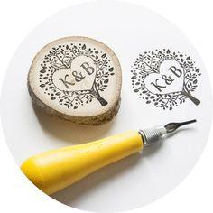 Handmade Monogram in Tree Custom Wedding Rubber Stamp, $65