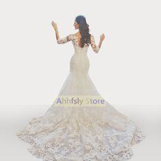 Vestido De Novia Wedding Dress Lace Mermaid Sweetheart Long Sleeves Bridal Gown