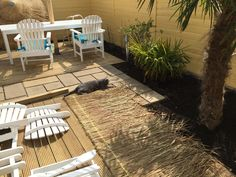Nu gaan we rieten dakjes plaatsen. Yaron, onze Russisch Blauw kater is blij met zijn nieuwe tuin.