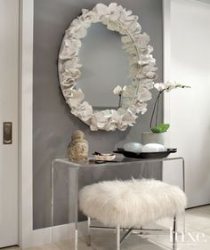 Contemporary Gray Living Room Detail with Faux Fur Bench