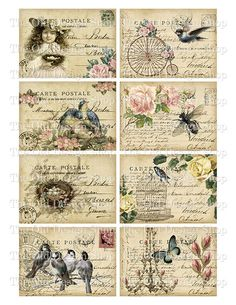 "Decoupage and painted by hand. Fair Masters - handmade 193 ""soft"" rice paper for decoupage. Decoupage Vintage, Vintage Diy, Images Vintage, Shabby Vintage, Vintage Labels, Vintage Ephemera, Vintage Pictures, Vintage Cards, Vintage Paper"