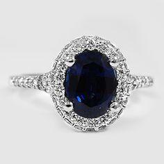 Diamond Wedding Rings : White Gold Sapphire Circa Diamond Ring // Set with a Blue Oval Sapphir. - Buy Me Diamond Ruby Jewelry, Sapphire Jewelry, Jewelry Rings, Jewelry Accessories, Fine Jewelry, Sapphire Diamond, Blue Sapphire, Sapphire Rings, Ruby Rings