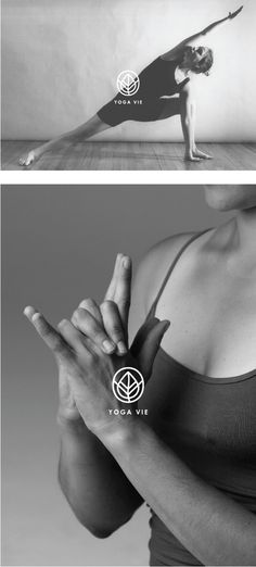 YOGA VIE by PeiYing Tang, via Behance - black and white images with logo over the top - nice logo.