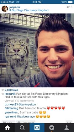 When you haven't had an off day in two weeks, I guess you go to six flags and take a tiger selfie