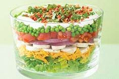 Layered Summer Salad: Layer 4  c torn romaine lettuce, 1 c Shredded Mild Cheddar Cheese, 2 c sliced fresh mushrooms, 1small red onion, (sliced, separated into rings), 2   tomatoes (chopped), 1 pkg. (10 oz.) frozen peas (thawed), 1/2 c Mayo mixed w/ 1/2 c Sour Cream & 1/4  c chopped fresh basil. Refrigerate 5 hrs. Top w/ 1/2-c cheese and 4  slices cooked Bacon (crumbled) to serve.