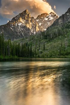 The Cathedral Group and String Lake, Grand Teton National Park, Wyoming; photo by .Wayne Boland