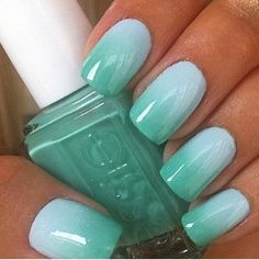 Teal blue ombre nails. Perfect for summer!