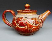 Personal Teapot Honey Red Glaze  Etsy