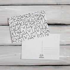 Katzen - Postkarten 2er Set - Katzen - ein Designerstück von lumilarie bei DaWanda