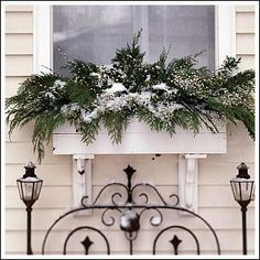 Christmas window box. Love this idea! Not just for summer.