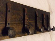"5 Sealed Hooks Antique Railroad Spike Art ""Black Ebony"" Vintage Coat Rack USA"