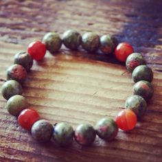 Unakite and Carnelian Bracelet on sale!  http://theeasiersofterway.com/sale  #unakite #carnelian #bracelet #malabeads #gemstones #natural #jewelry #beaded
