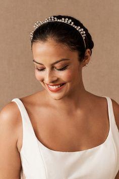 Swarovski crystals top this regal tiara, perfect for adding an elegant detail. Bhldn, Hair Pins, Halo, Wedding Hairstyles, Swarovski Crystals, Hair Accessories, Elegant, Hair Styles, Gowns