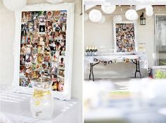 Beautiful white party with a framed photo collage showing all ages of the birthday boy.