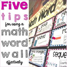 Math Word Walls ~ Five free tips for using them effectively.