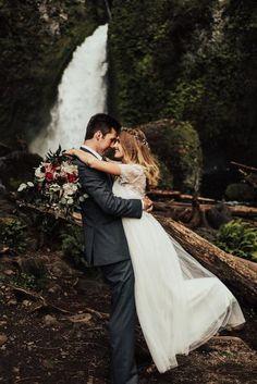 romantic wedding couple near water tessatadlock