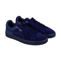 Puma Suede Classic Casual Emboss Mens Blue Suede Lace Up Sneakers Shoes