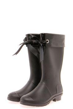 fee244cd95f5 Lizah Knee High Bow Trim Wellington Boot Leather High Heel Boots