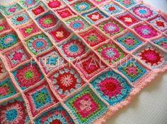 Manta de Crochet en lana cuadrados chicos