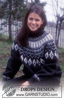 Free knitting patterns and crochet patterns by DROPS Design Fair Isle Knitting Patterns, Fair Isle Pattern, Sweater Knitting Patterns, Knitting Charts, Free Knitting, Drops Design, Icelandic Sweaters, Drops Patterns, Tutorials