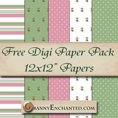 Granny Enchanted's Paper Directory: Free Tea Rose Digital Scrapbook Paper Pack 44