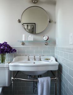 shelf above sink, tilting mirror above shelf -- from Birch & Lily; Design by Gideon Mendolsen