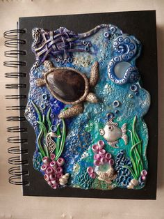 Sea Turtle Sketchbook/Journal Cover - Polymer Clay Ocean Scene sold by ShooShoo Jewelry & Gifts. Shop more products from ShooShoo Jewelry & Gifts on Storenvy, the home of independent small businesses all over the world.