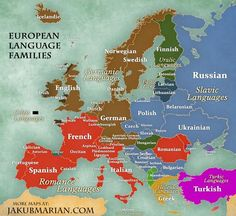 Map of languages and language families of Europe European Map, European History, World History, Ancient History, Ancient Aliens, American History, European Languages, World Languages, Polish Language
