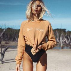 sweater + swimsuit