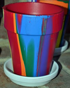 Rainbow Pour Painting on Flower Pots - In Lieu of Preschool