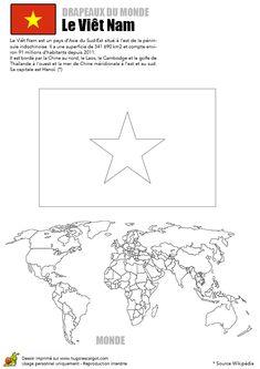 Le drapeau étoilé du Vietnam à colorier