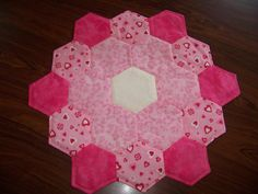 Quilted Valentine Table Topper Shades of Pink by GabbysQuilts, $34.98