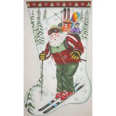 Skiing Santa stocking