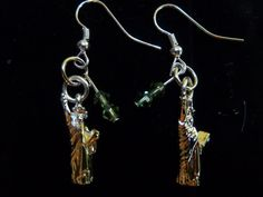 Statue of Liberty with Green Swarovski Crystals Sterling Silver Earring on Etsy, $25.00